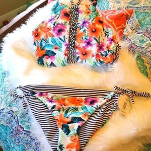 Floral & Stripe Reversible Bikini 👙